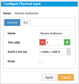 Configure Physical Input General