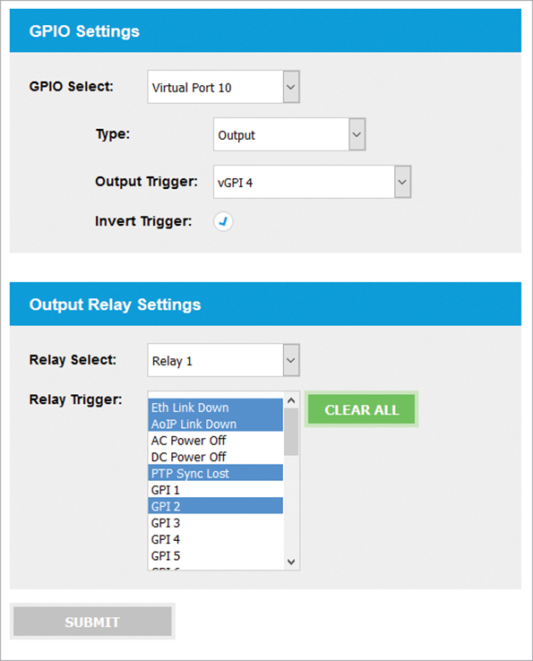 Output Relay Settings