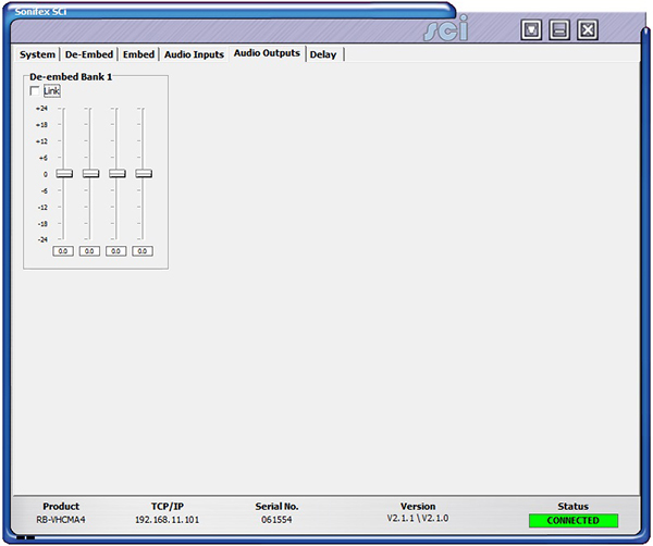 Sci image - RB-VHCMA4 Audio Outputs Screen