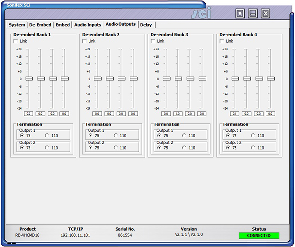 Sci image - RB-VHCMD16 Audio Outputs Screen
